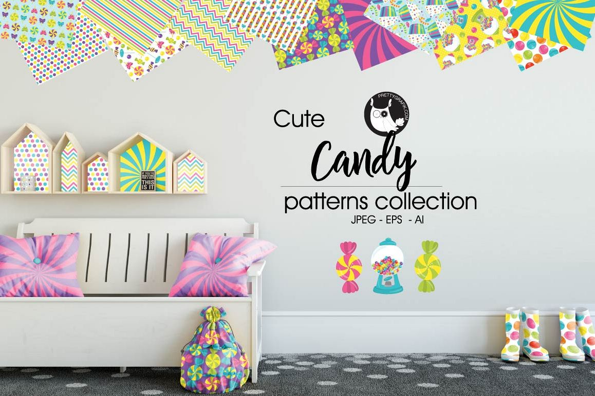 CANDY, digital papers example image 1