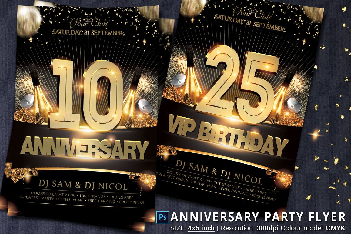 anniversary and birthday party flyer by design bundles