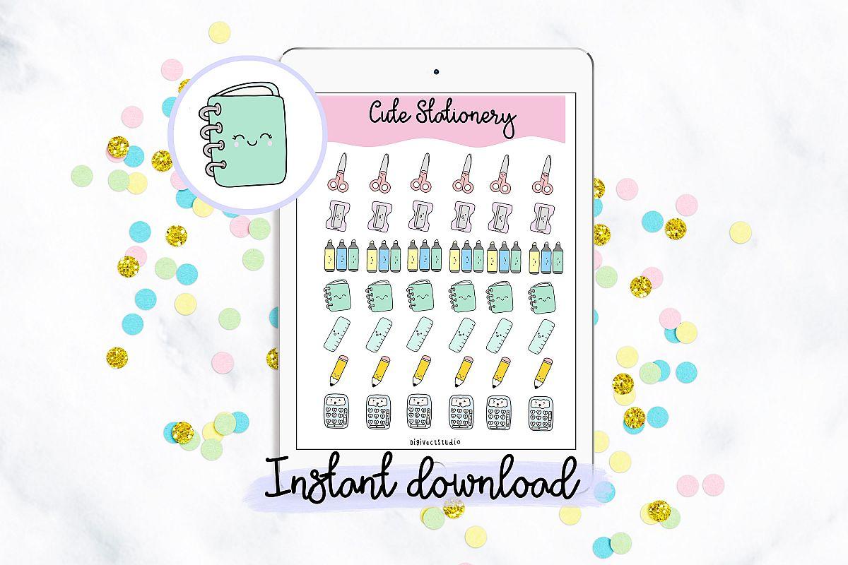 Cute Kawaii Stationary Digital Planner Stickers example image 1