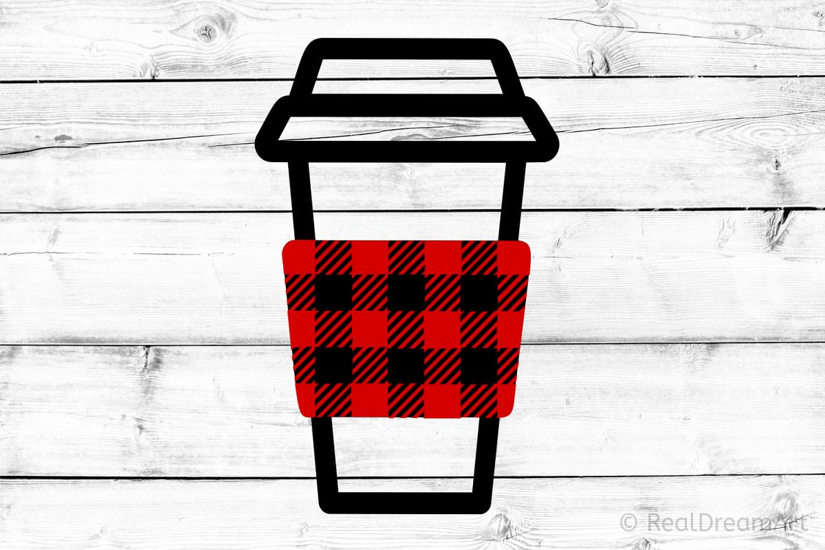 Buffalo Plaid Coffee Cup SVG, DXF, PNG, EPS example image 1