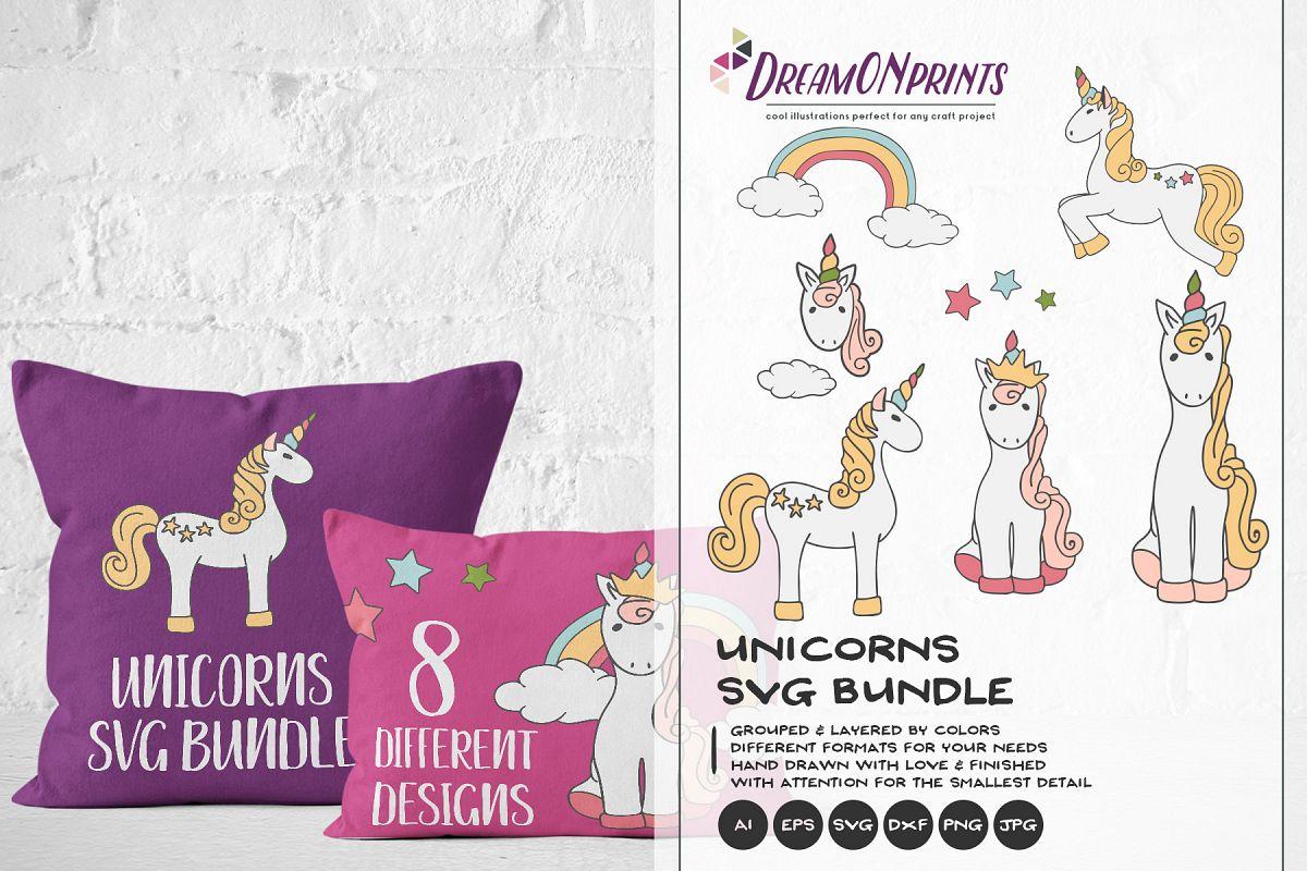 Unicorns SVG BUNDLE - Vector Unicorn SVG Cut Files example image 1