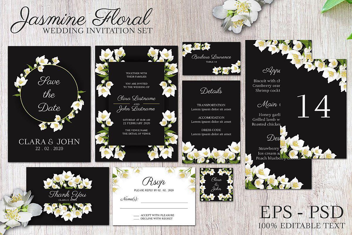 Jasmine floral wedding invitation set example image 1