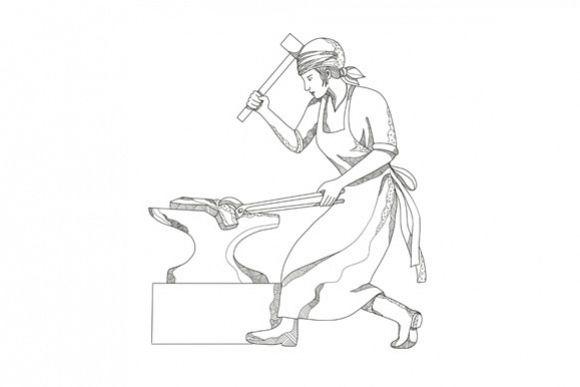 Female Blacksmith at Work Doodle Art example image 1