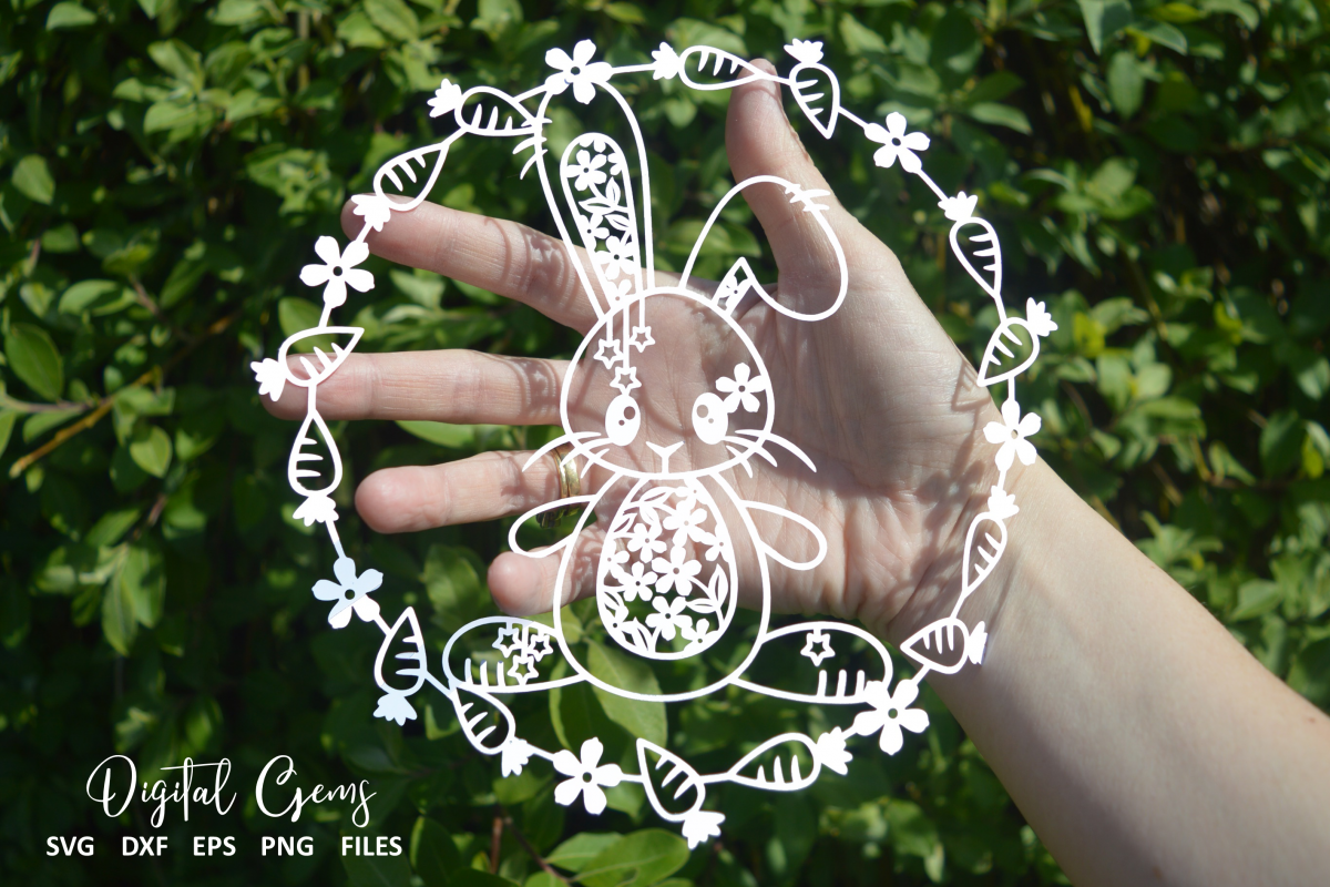 Rabbit paper cut design. SVG / DXF / EPS files example image 1