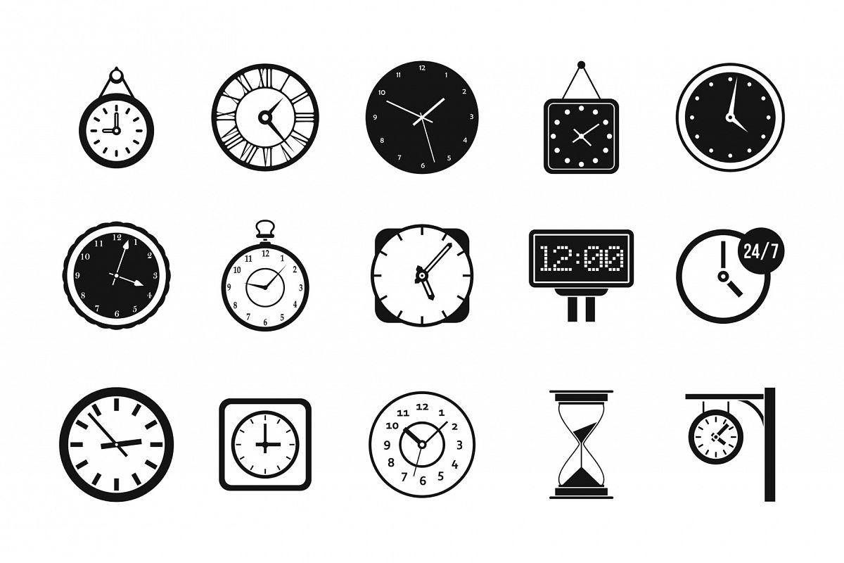 Wall clock icon set, simple style example image 1