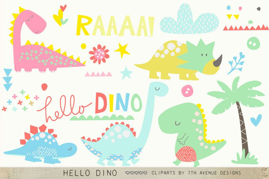 Hello Dino Cliparts example image 1