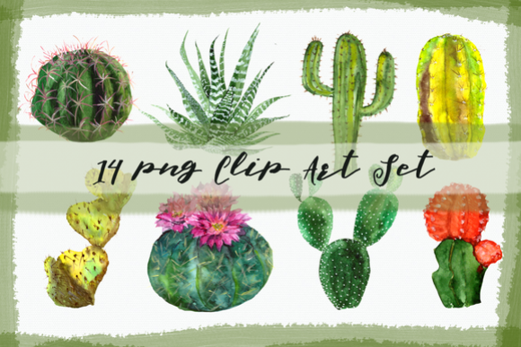 Watercolor Cactuses Clip Art Set example image 1