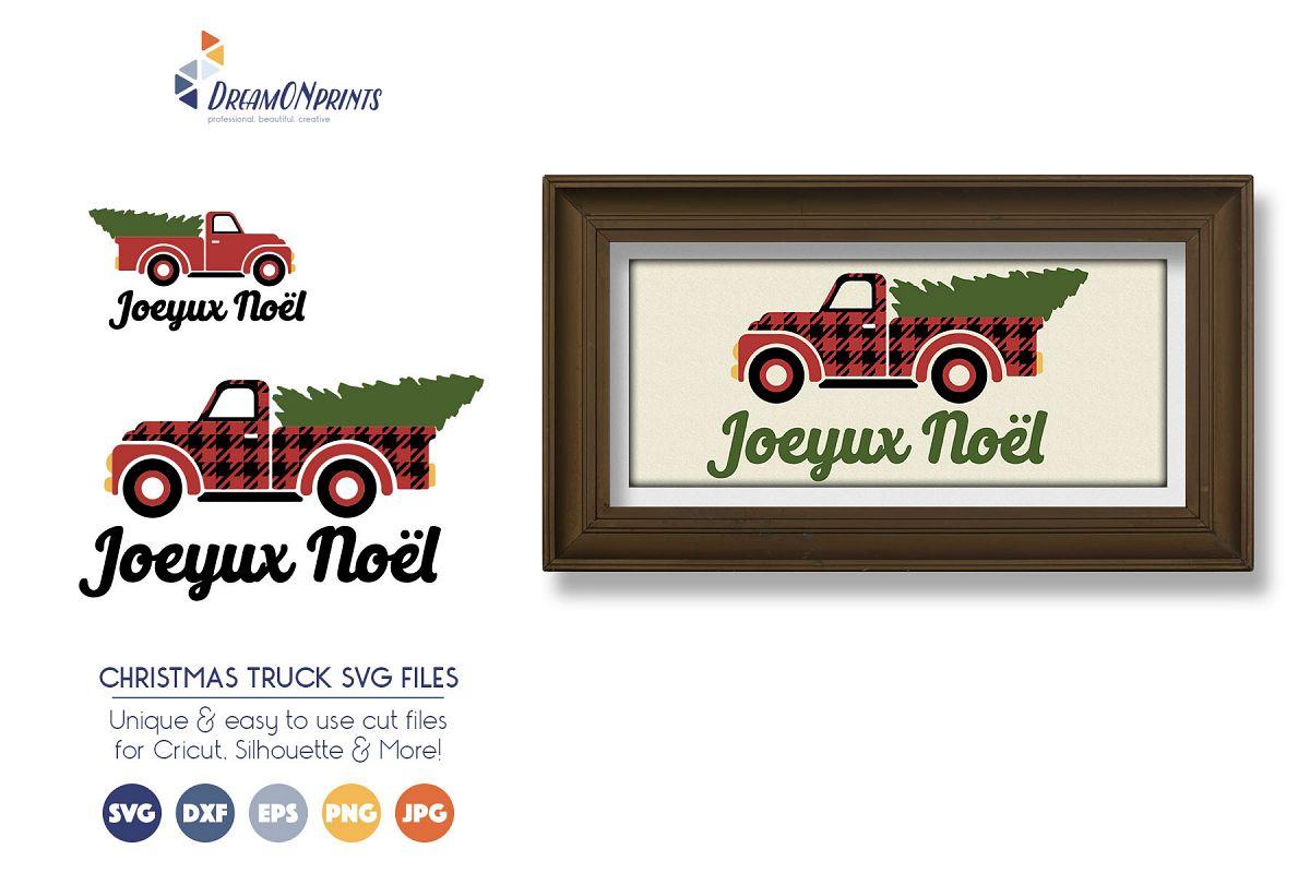 Buffalo Plaid Christmas Truck SVG Files example image 1