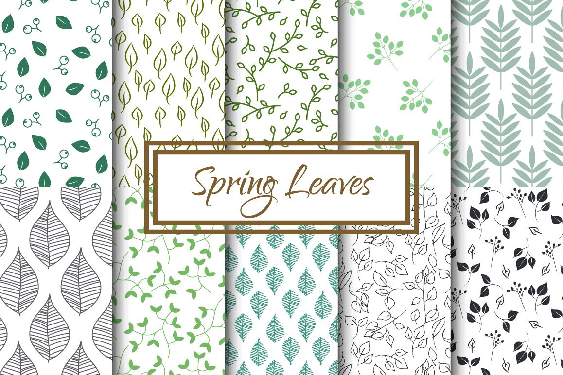Spring Leaves Seamless Patterns example image 1