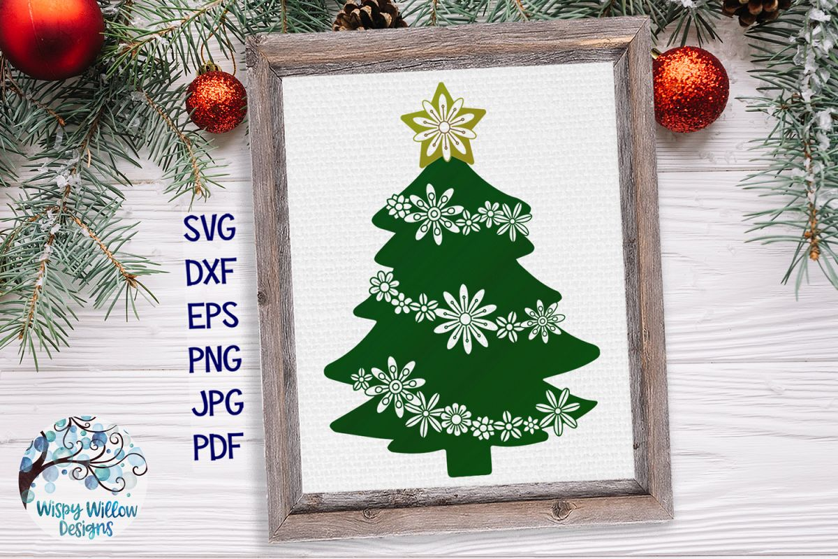 Floral Christmas Tree   Christmas SVG Cut File example image 1