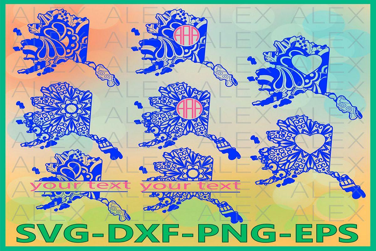 Alaska State SVG, Alaska Mandala SVG, Zentangle svg example image 1