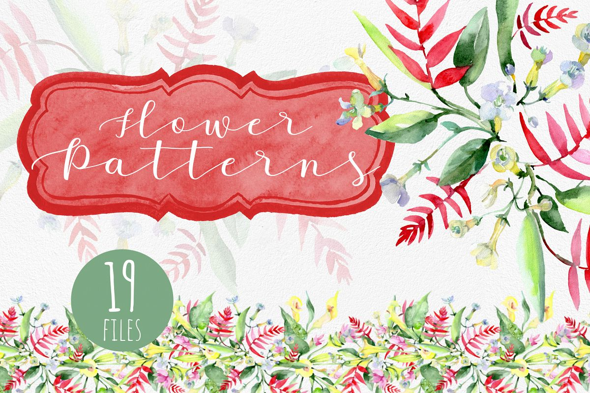 Bouquet watercolor and pattern background png example image 1