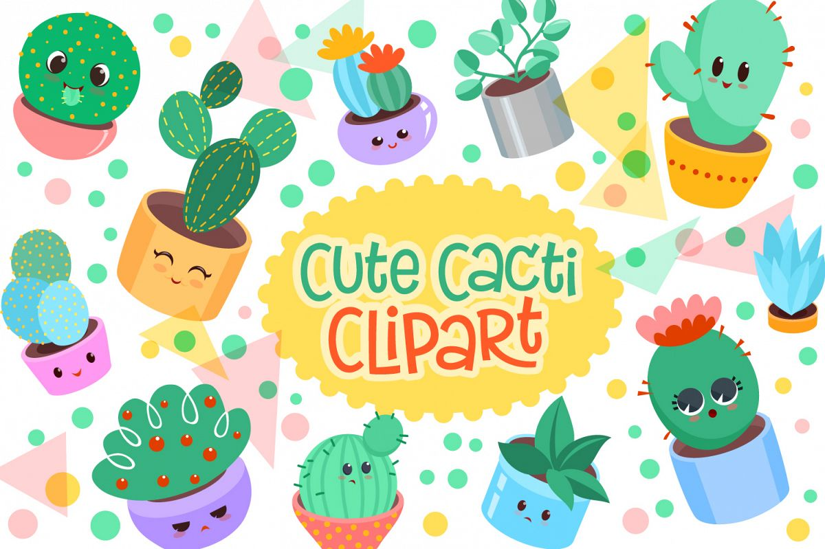 Cute Cacti Clipart - 18 vector items example image 1