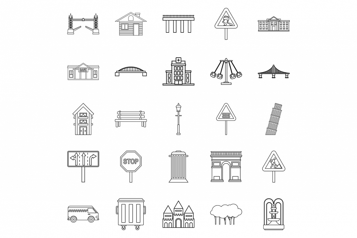 Mart icons set, outline style example image 1