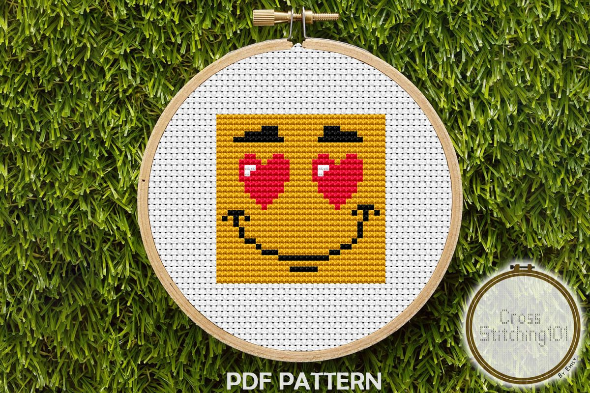 Emoji Smile Modern Cross Stitch Pattern- Instant Download example image 1