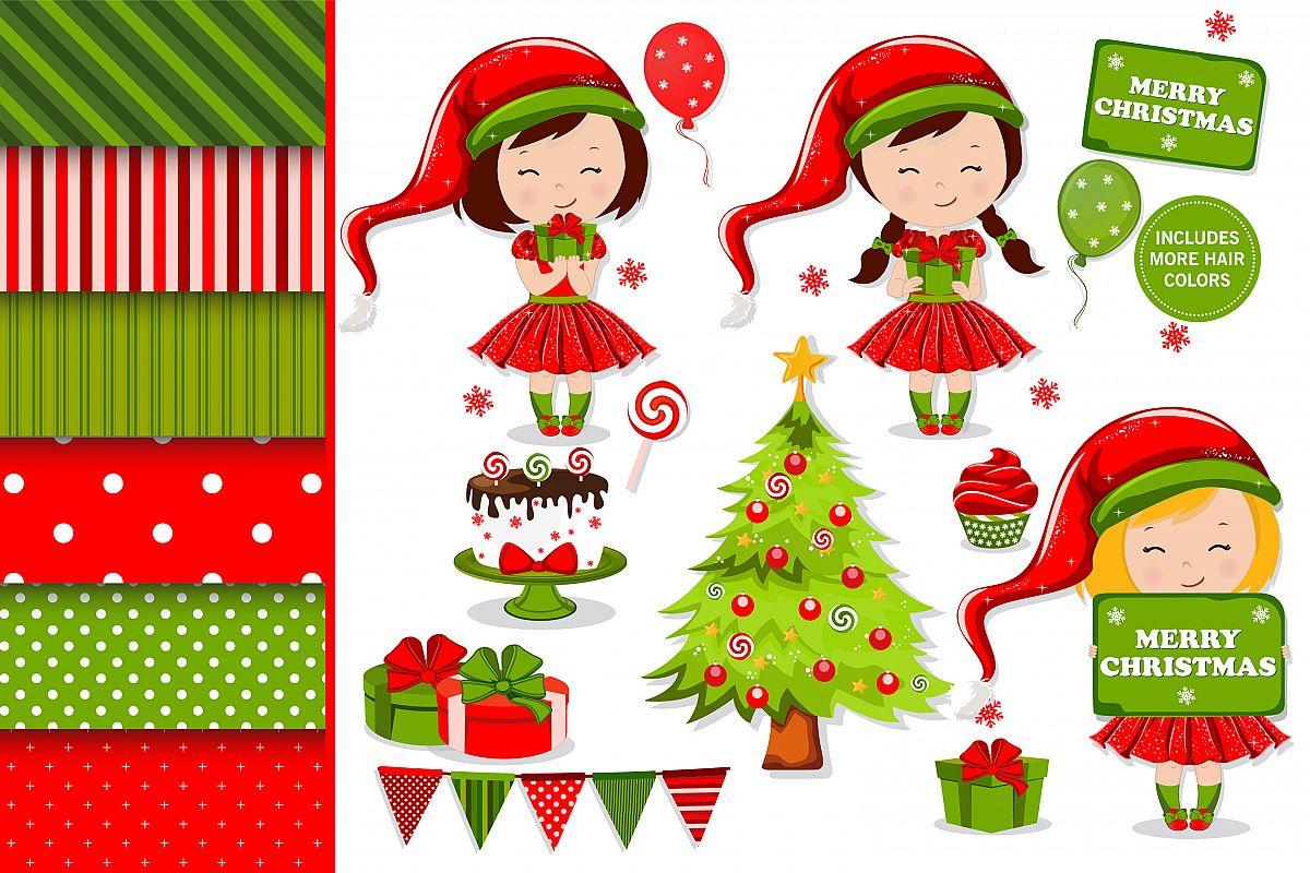 Christmas girl illustration, Christmas digital papers example image 1