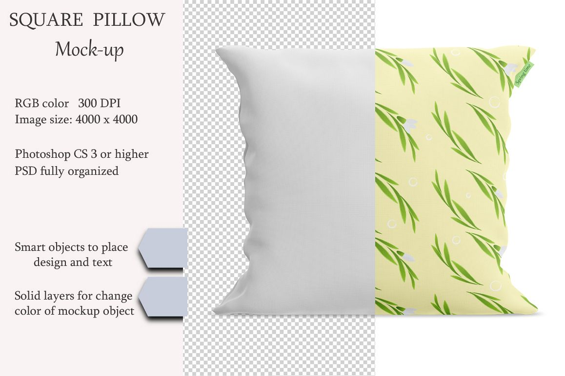 Square pillow mockup. Front view. Product mockup. example image 1