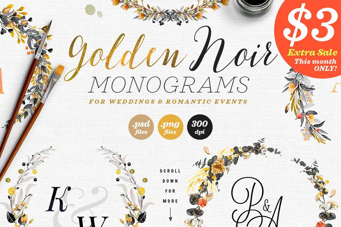 6 Golden Noir Wedding Monograms IX example image 1