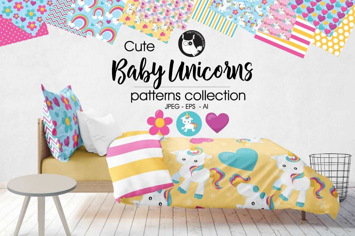 BABY-UNICORN, digital papers example image 1