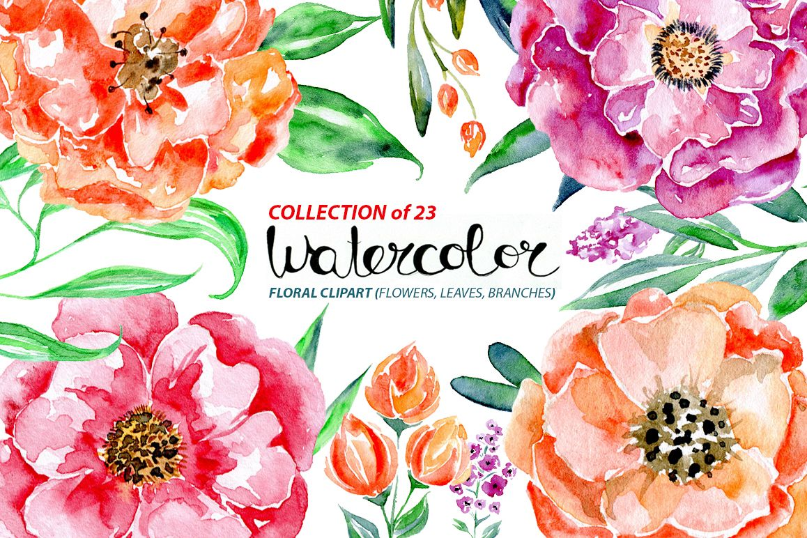 Watercolor flowers set, 23 elements example image 1