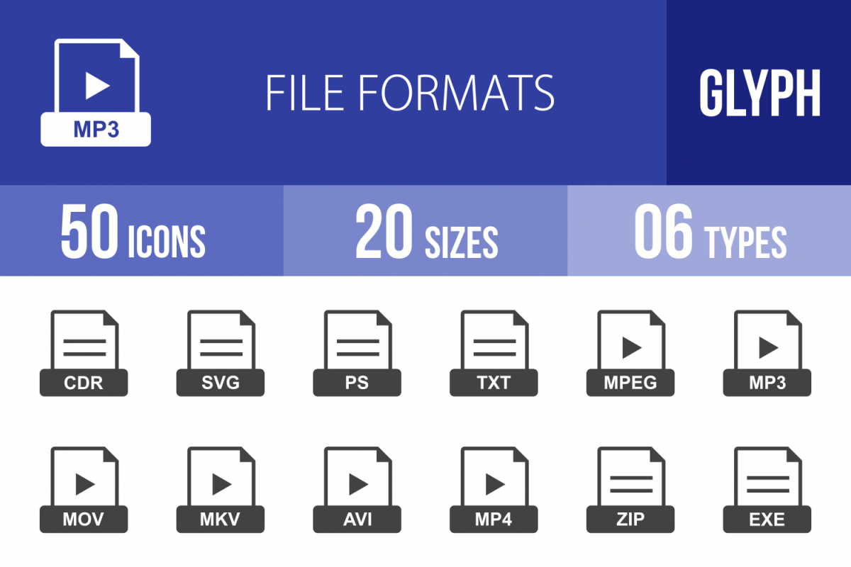 50 File Formats Glyph Icons example image 1