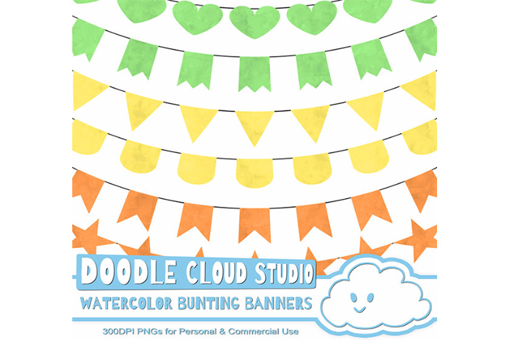 Watercolor Bunting Banners Cliparts, Watercolor texture Flags, Green, Orange, Yellow Colors, Instant Download, Personal & Commercial Use example image 1