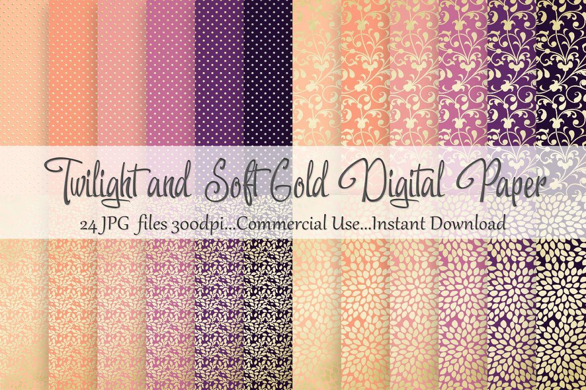 Twilight Soft Gold Digital Paper example image 1