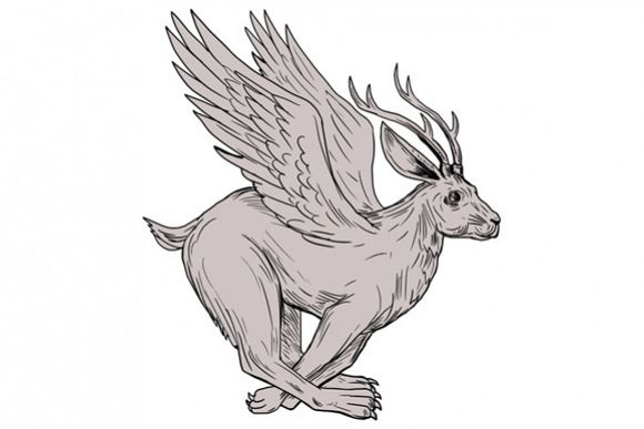 Wolpertinger Running Side Drawing example image 1