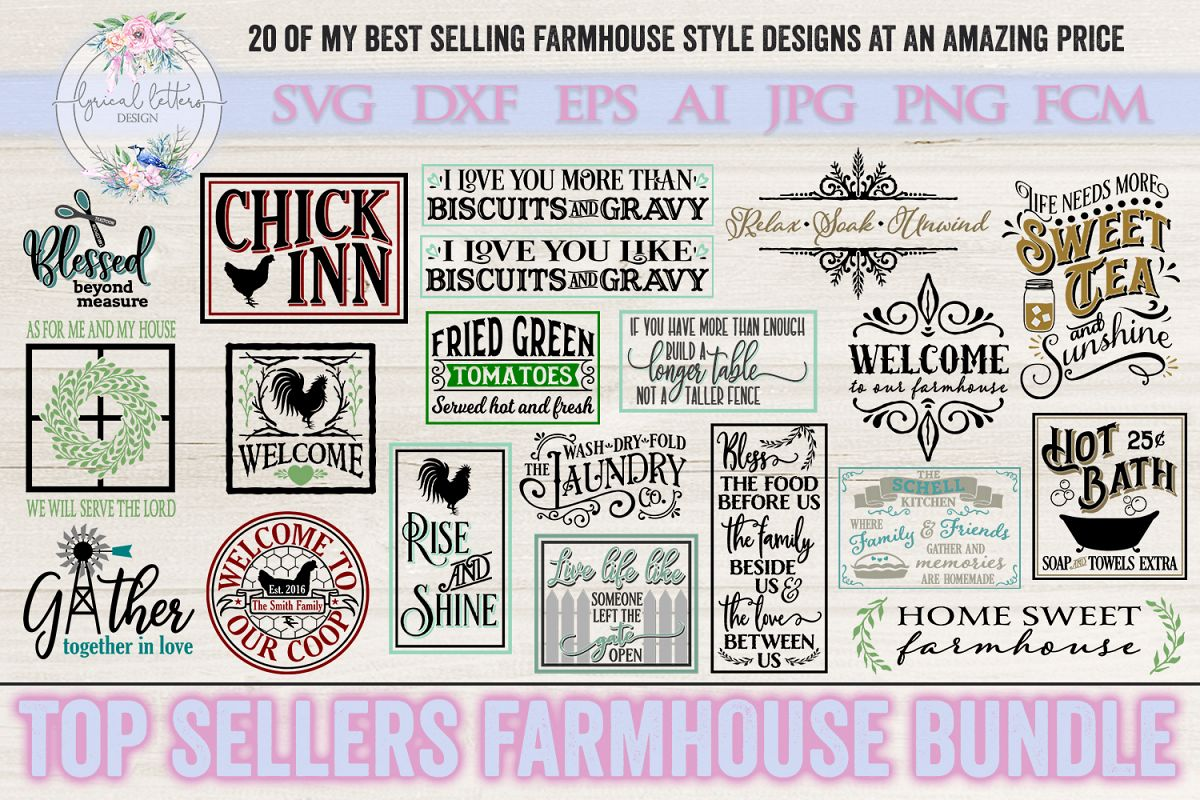 Top Sellers Farmhouse Bundle of 20 SVG DXF Cut Files example image 1