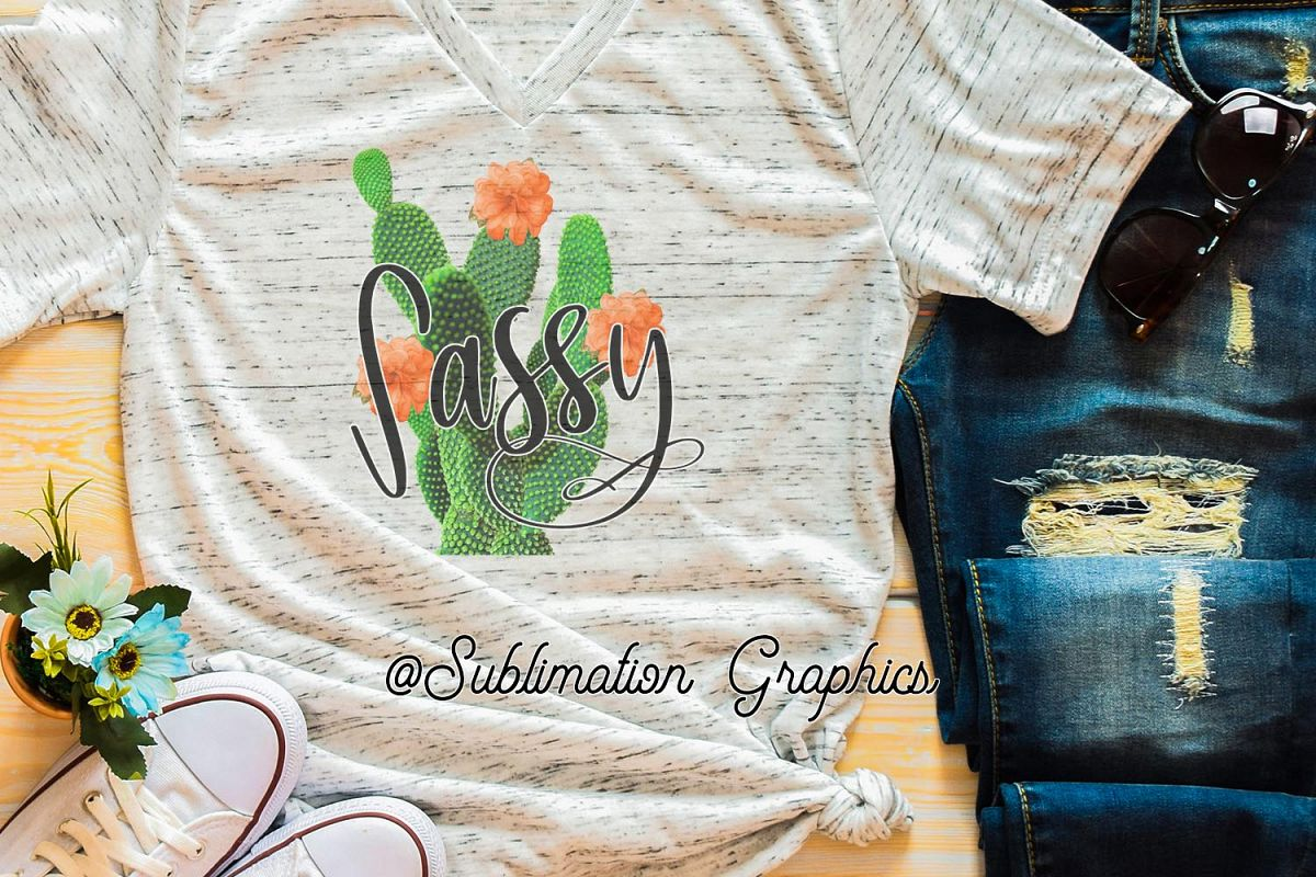 Sassy Cactus Sublimation PNG example image 1