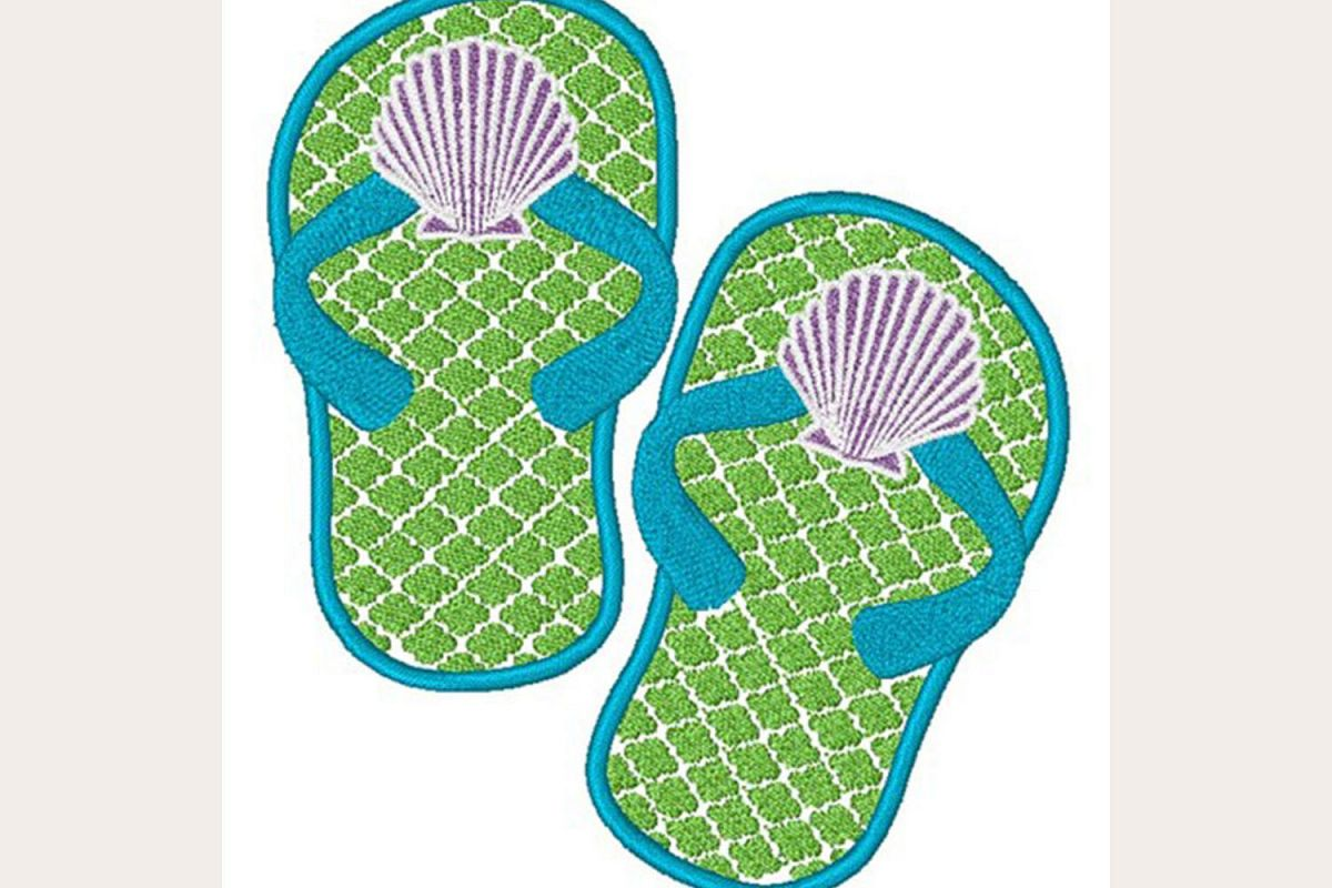 Seashell Flip Flops - Machine Embroidery Design example image 1