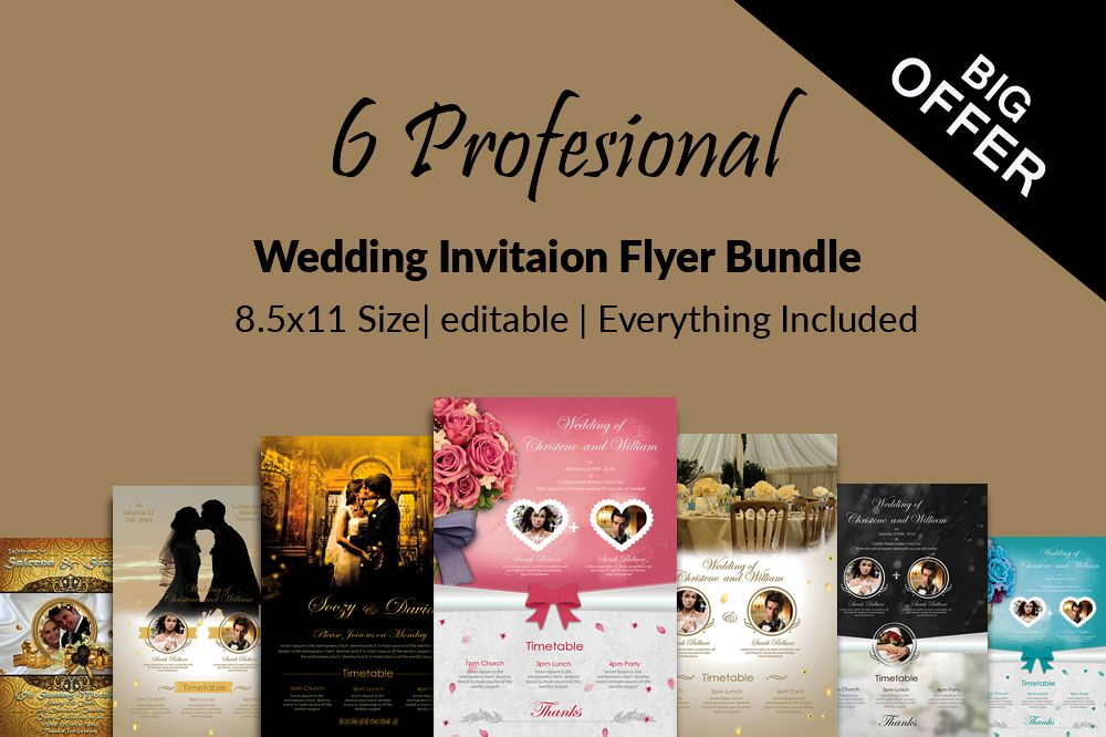 6 Wedding Invitaion Flyer Template example image 1