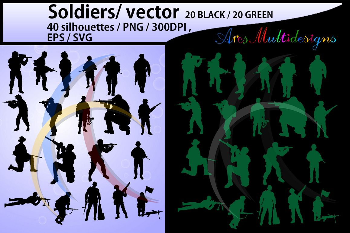 Soldiers svg / Soldiers silhouette / Hight Quality / Soldiers printable digital clipart / black and green / Army/ vector / PNG / SVG / EPS example image 1