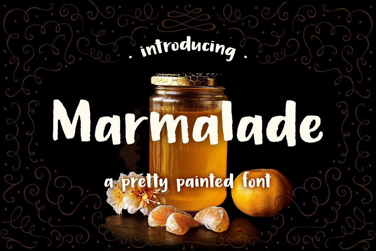 Marmalade, a hand painted font example image 1