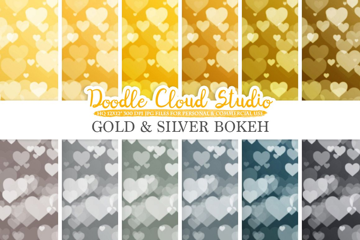 Gold & Silver Hearts Bokeh digital paper, Metallic Bokeh Overlay, Heart Bokeh backgrounds, Instant Download, for Personal and Commercial Use example image 1