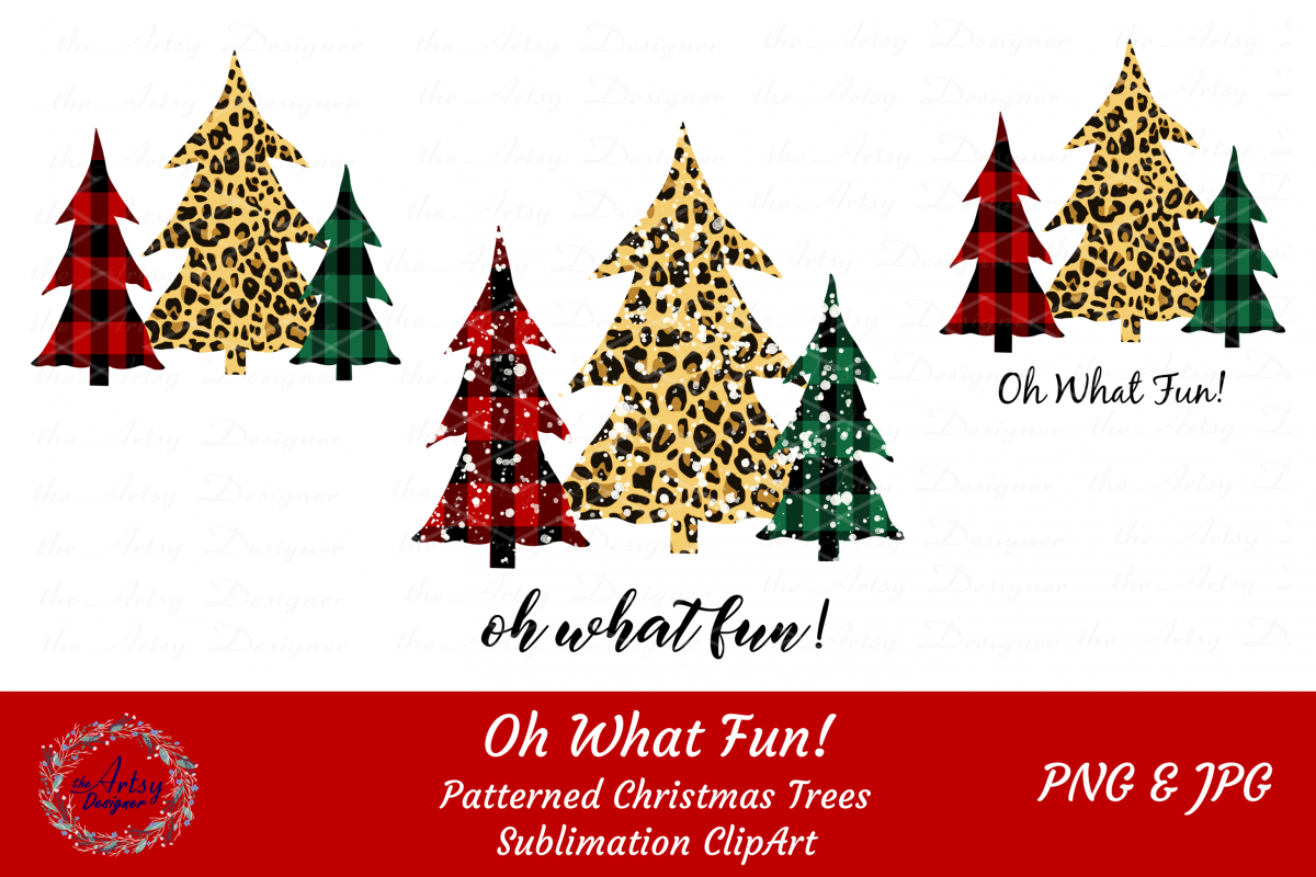 Plaid Leopard Christmas Trees Oh What Fun Sublimation Bundle example image 1