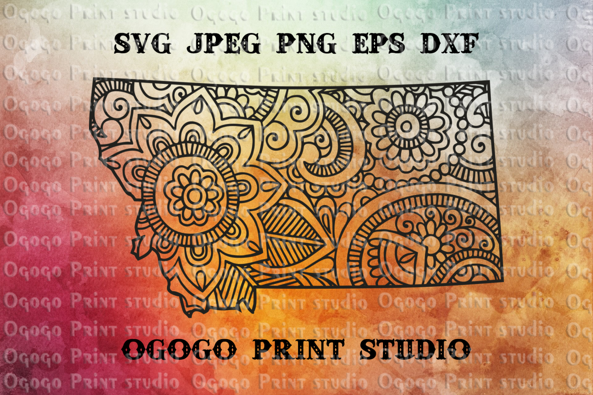 Montana SVG, Map Zentangle SVG, Mandala svg, Travel svg example image 1