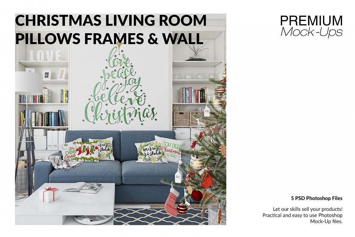 Christmas Living Room Set - Throw Pillows Frames & Wall example image 1