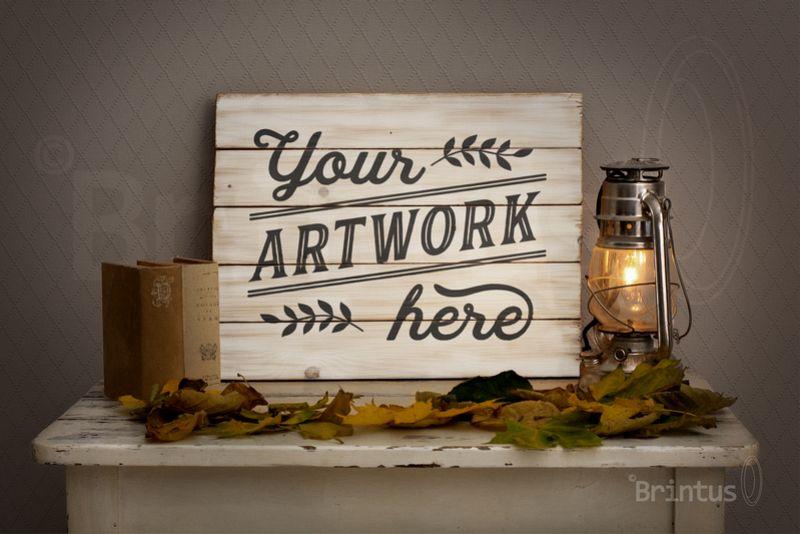 Woodsign mockup - romantic autumn interior example image 1