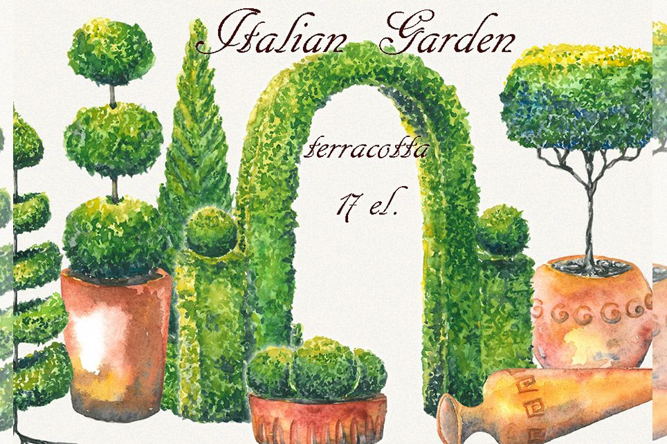 Tree clipart, topiary clipart, garden clipart, trees clipart example image 1