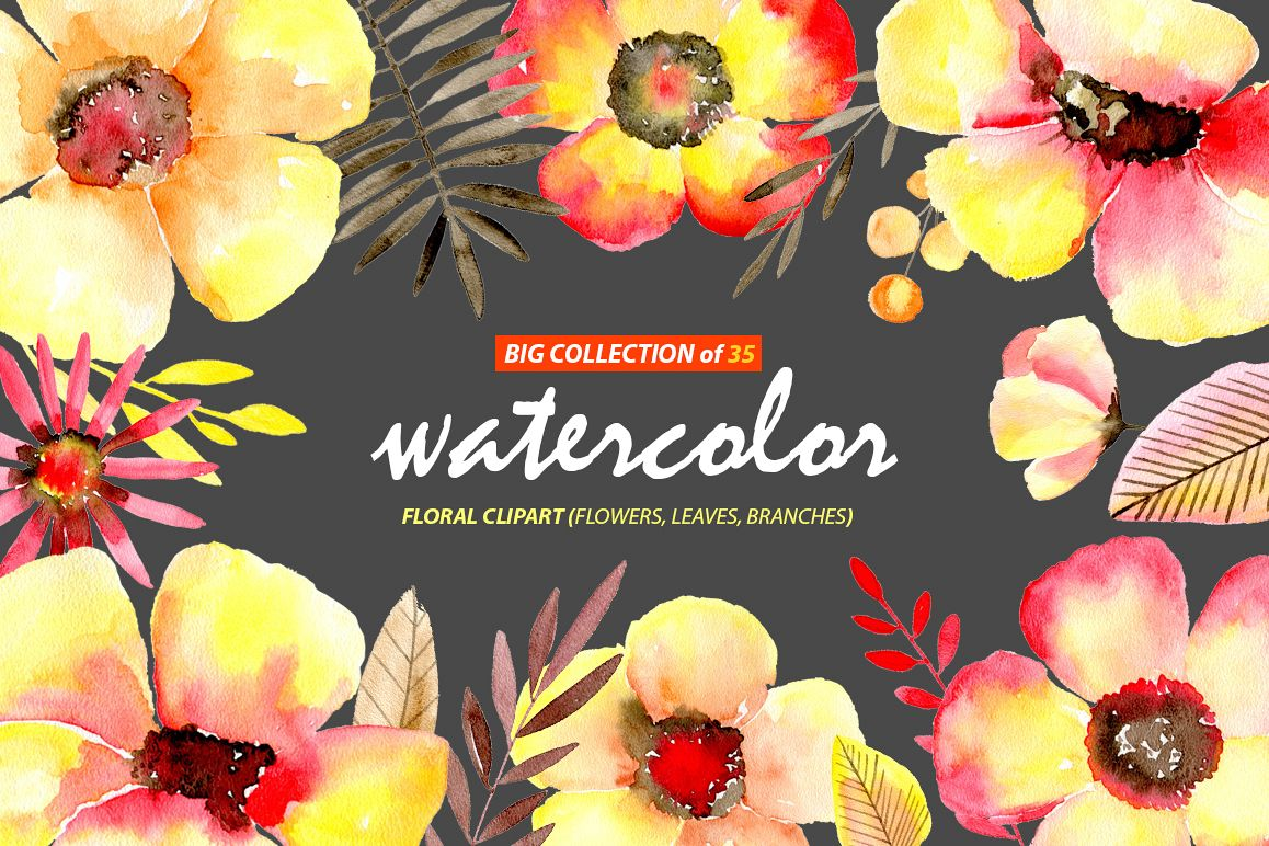 Watercolor yellow & red flowers example image 1