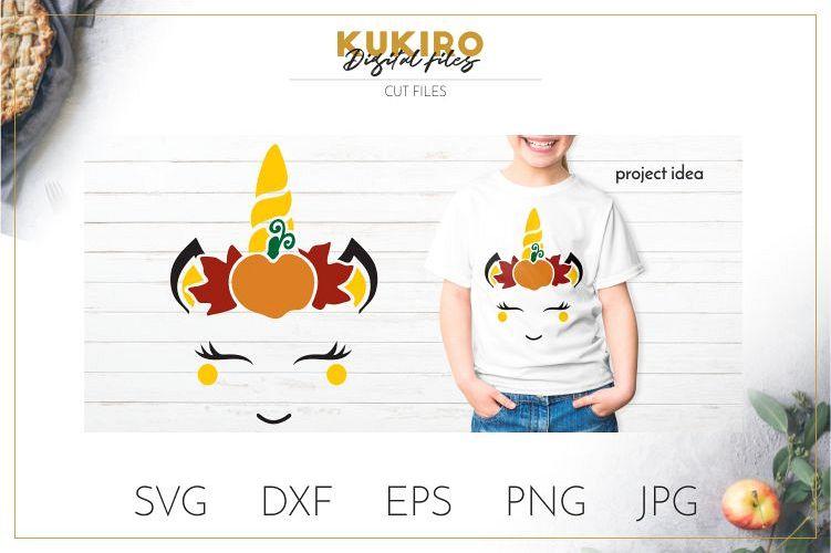 Fall Unicorn SVG - Autumn Pumpkin Unicorn Cut file example image 1