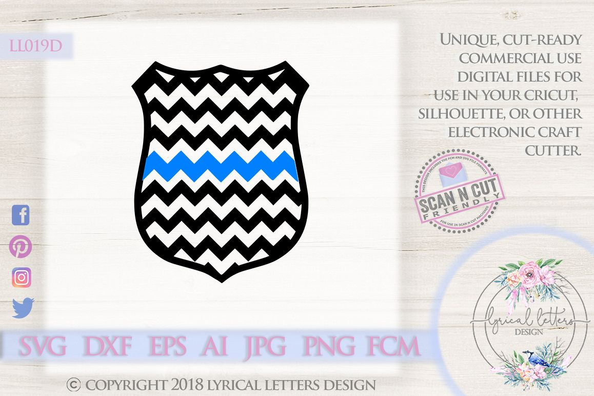 Chevron Police Badge with Thin Blue Line SVG DXF LL019D example image 1