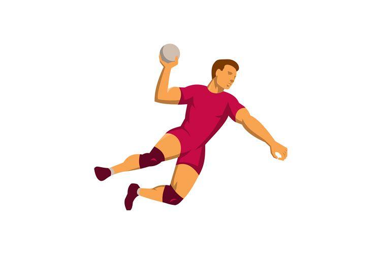 handball player jumping retro example image 1