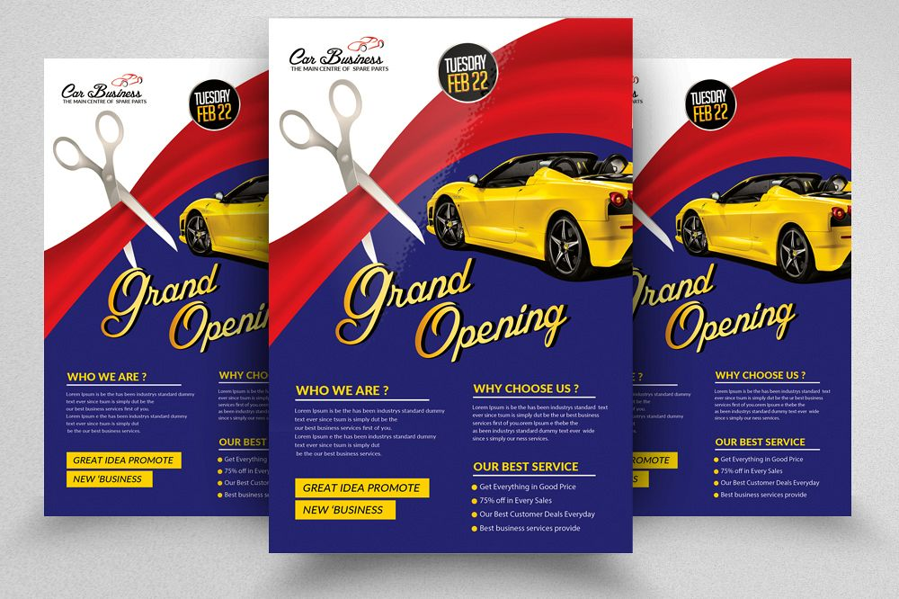 car business grand opening flyer