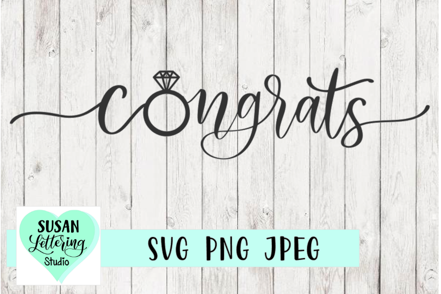Congrats Wedding, Engagement Ring Cut File, SVG, PNG, JPEG example image 1