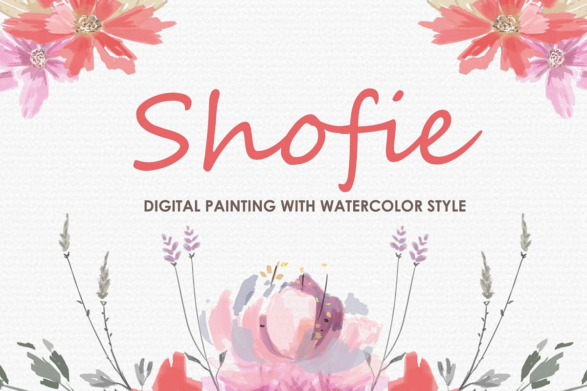 Shofie - Digital Watercolor Floral Flower Style Clipart example image 1