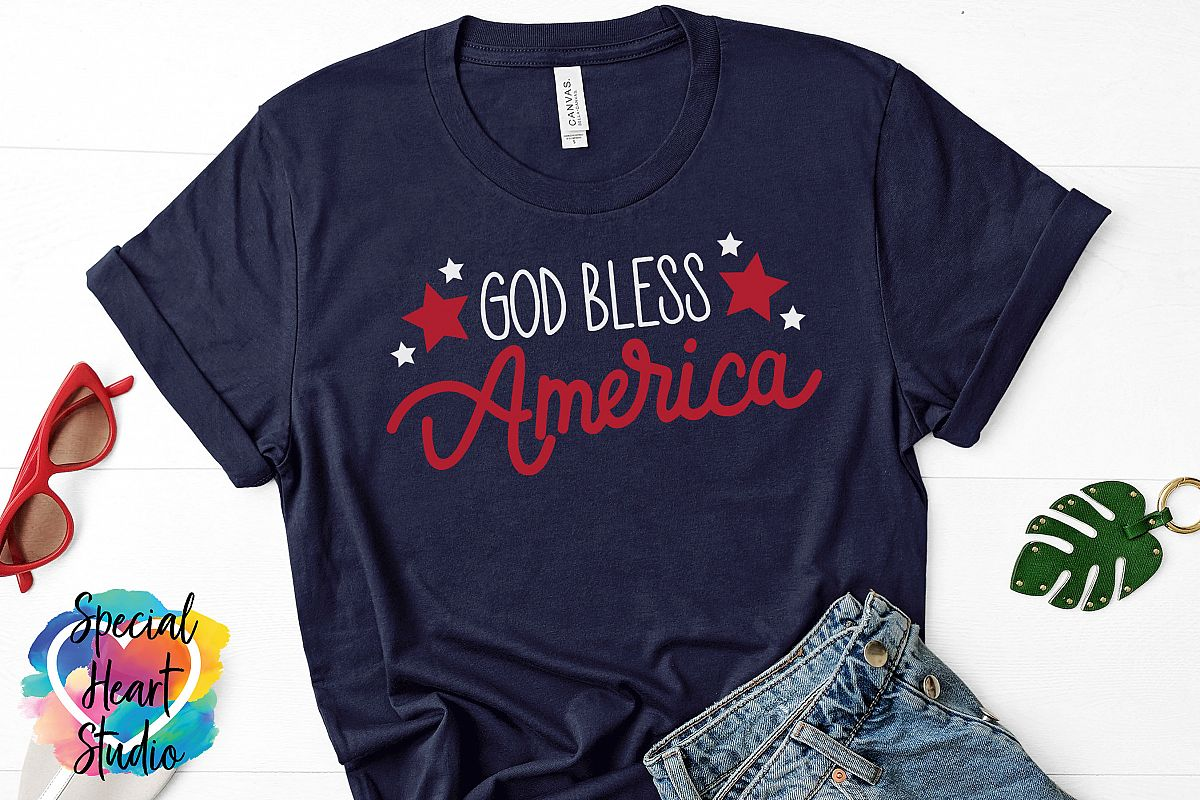 God Bless America - A hand lettered patriotic SVG example image 1
