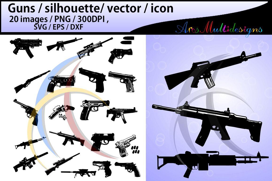 gun silhouette svg / guns / gun clipart / nerf guns / nerf gun clipart / silhouette / High Quality / svg format / EPS / PNG / SVG / DXf - vector example image 1
