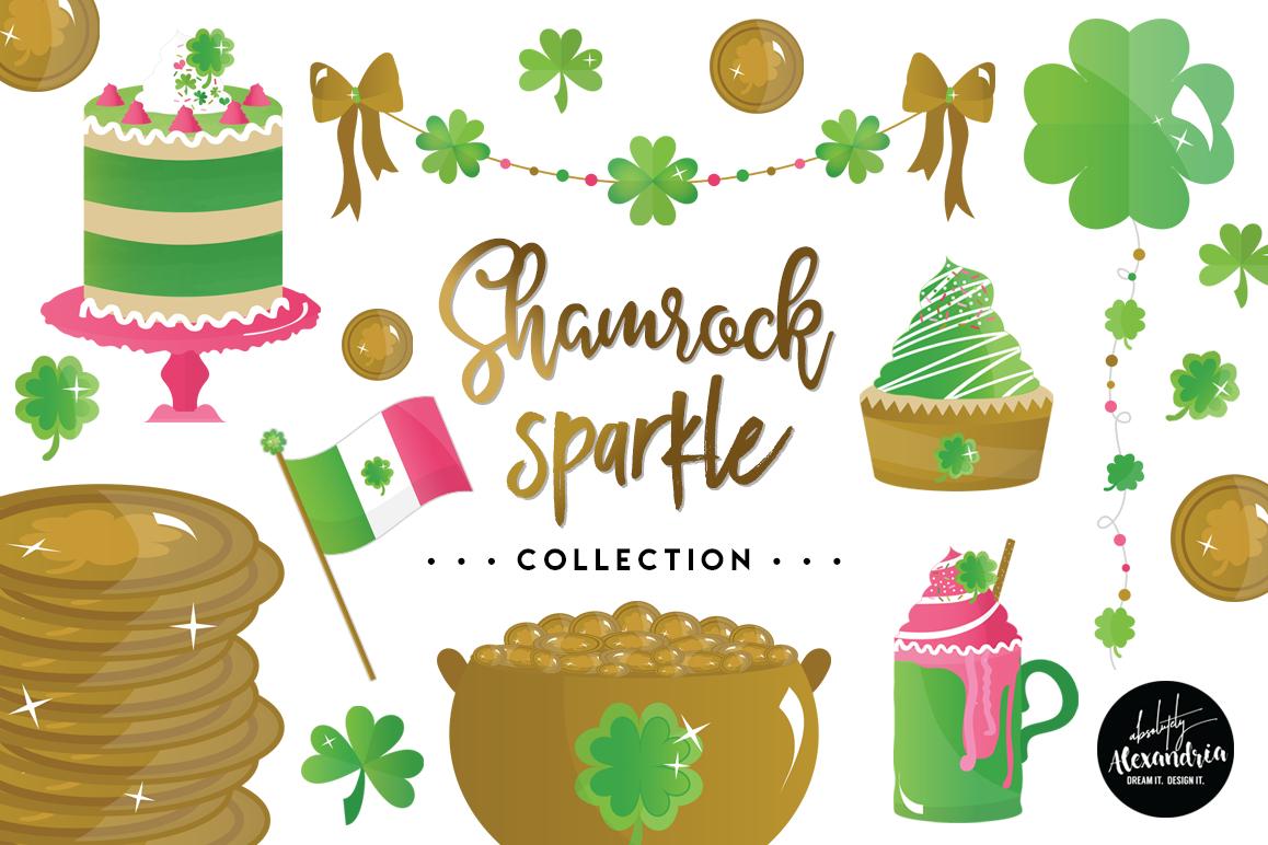 Shamrock Sparkle Clipart Graphics & Digital Paper Patterns Bundle example image 1